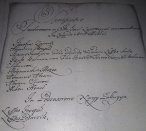 Jewish census document from northern Slovakia dated 1727