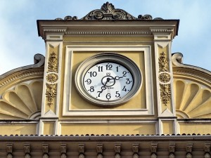 """photo of a clock in Novara, Italy. Blogpost """"Putting It in Context"""" of time and place, RYO #10, historical contextualisation for Jewish family history research."""