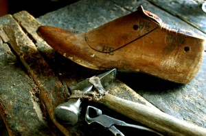 """Photograph of traditional shoe making tools to illustrate the historytrace blogpost """"Follow in the Footsteps"""". Image copyright freeimages.com / Miguel Ugalde."""