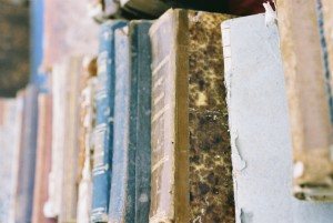 Photograph of old books accompanying historytrace blogpost about heirloom book. Image copyright www.freeimages.com / Davide Farabegoli.