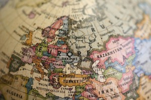 """Photograph of a section of a globe depicting Europe, accompanying the historytracings blog post """"Here, There and Everywhere - Thursday Thoughts"""" from historytrace about ancestral locations. Image copyright: www.freeimages.com / Adrian van Leen."""