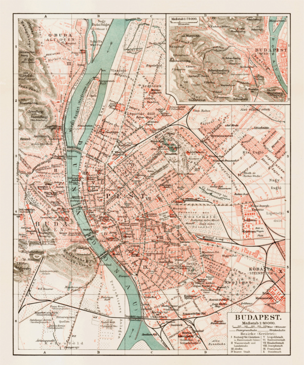 Family History in Budapest. Map of Budapest circa 1903. Image copyright Discus Media.